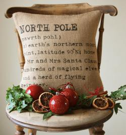 Article + Gallery ➤ http://CARLAASTON.com/designed/decorating-with-burlap For The Love Of Burlap | The Holiday's Hottest Decorating Tool (Image Source: Cottage Coastal Store - KWs: decor, tutorial, DIY, Christmas, pillow)