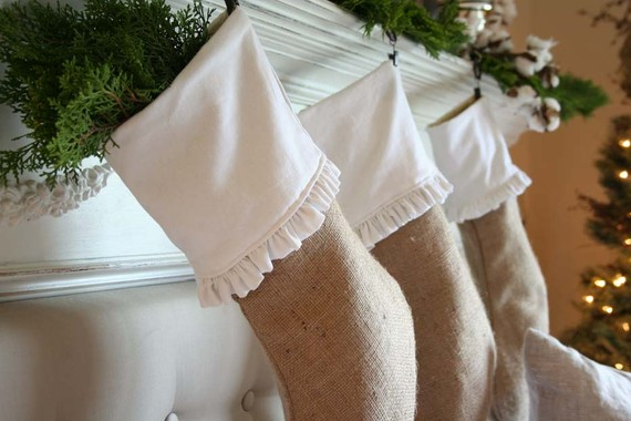 Article + Gallery ➤ http://CARLAASTON.com/designed/decorating-with-burlap For The Love Of Burlap | The Holiday's Hottest Decorating Tool (Image Source: Iblaswich - KWs: decor, tutorial, DIY, Christmas, stocking)