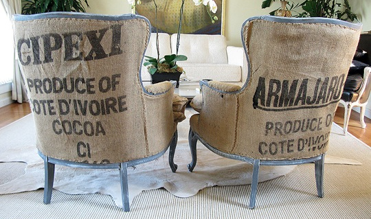 Article + Gallery ➤ http://CARLAASTON.com/designed/decorating-with-burlap For The Love Of Burlap | The Holiday's Hottest Decorating Tool (Image Source: Lavender And Ash - KWs: decor, tutorial, DIY, Christmas, chair)