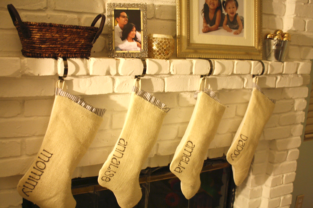 Article + Gallery ➤ http://CARLAASTON.com/designed/decorating-with-burlap For The Love Of Burlap | The Holiday's Hottest Decorating Tool (Image Source: Laid Off Mom - KWs: decor, tutorial, DIY, Christmas, stocking)