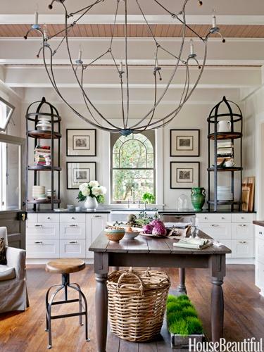 Designer: Mary Jo Bochner, Image Source:  House Beautiful ,lighting, art, chandelier, kitchen
