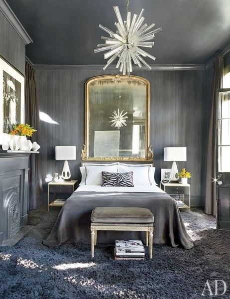 Article + Gallery ➤ http://CARLAASTON.com/designed/lighting-makes-artistic-statement When Lighting Makes A Design's Artistic Statement - Image Source: Architectural Digest (KWs: light art, chandelier , bedroom )