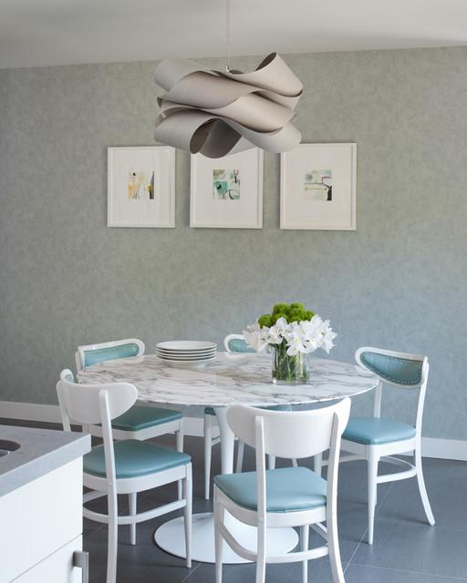 Article + Gallery ➤ http://CARLAASTON.com/designed/lighting-makes-artistic-statement When Lighting Makes A Design's Artistic Statement - Image Source: Unknown (KWs: light art, chandelier, turquoise, dining room )