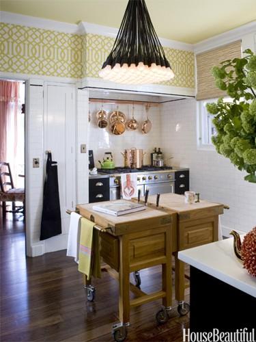 Article + Gallery ➤ http://CARLAASTON.com/designed/lighting-makes-artistic-statement When Lighting Makes A Design's Artistic Statement - Image Source: House Beautiful (KWs: light art, chandelier, kitchen )