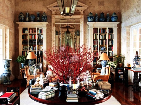 Perfect use of the blue and whites, all close together. Home of Oscar de la Renta, Image via:  Mark Sikes