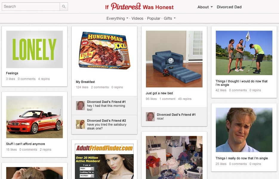 A Divorced Man's Pinterest Profile (HILARIOUS! ;-)