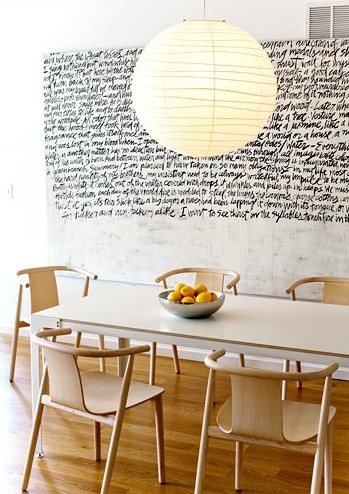 The Writing Is On The Wall | 21 Beautifully Scripted Interiors ➤ www.CARLAASTON.com/designed/writing-on-the-wall