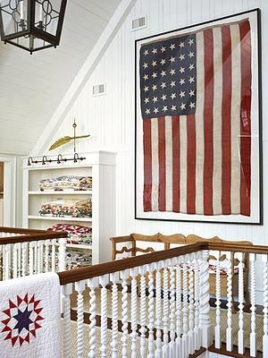 Image via:  Traditional Home,  Designer:  Suzanne Kasler  | #4thofJuly #Americanflag
