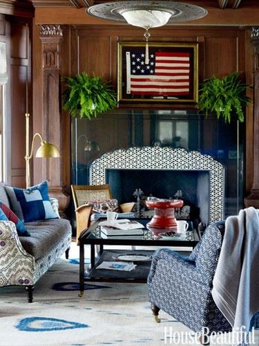 Image via:  House Beautiful , Designer:  Martin Horner  | #4thofJuly #Americanflag