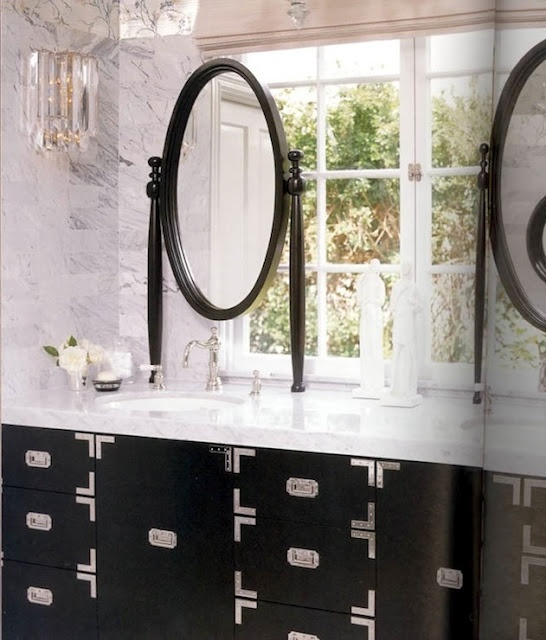 ARTICLE: How to Hang a Mirror On a Window - 12 Bright, Beautiful Examples | Related tags: bathroom. vanity, etc.