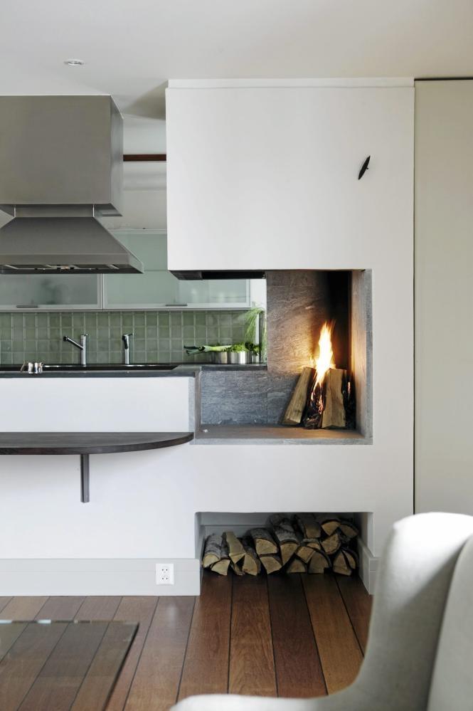 Fireplaces in the kitchen | Designer: Camilla Tangen, Image via:  Klikk