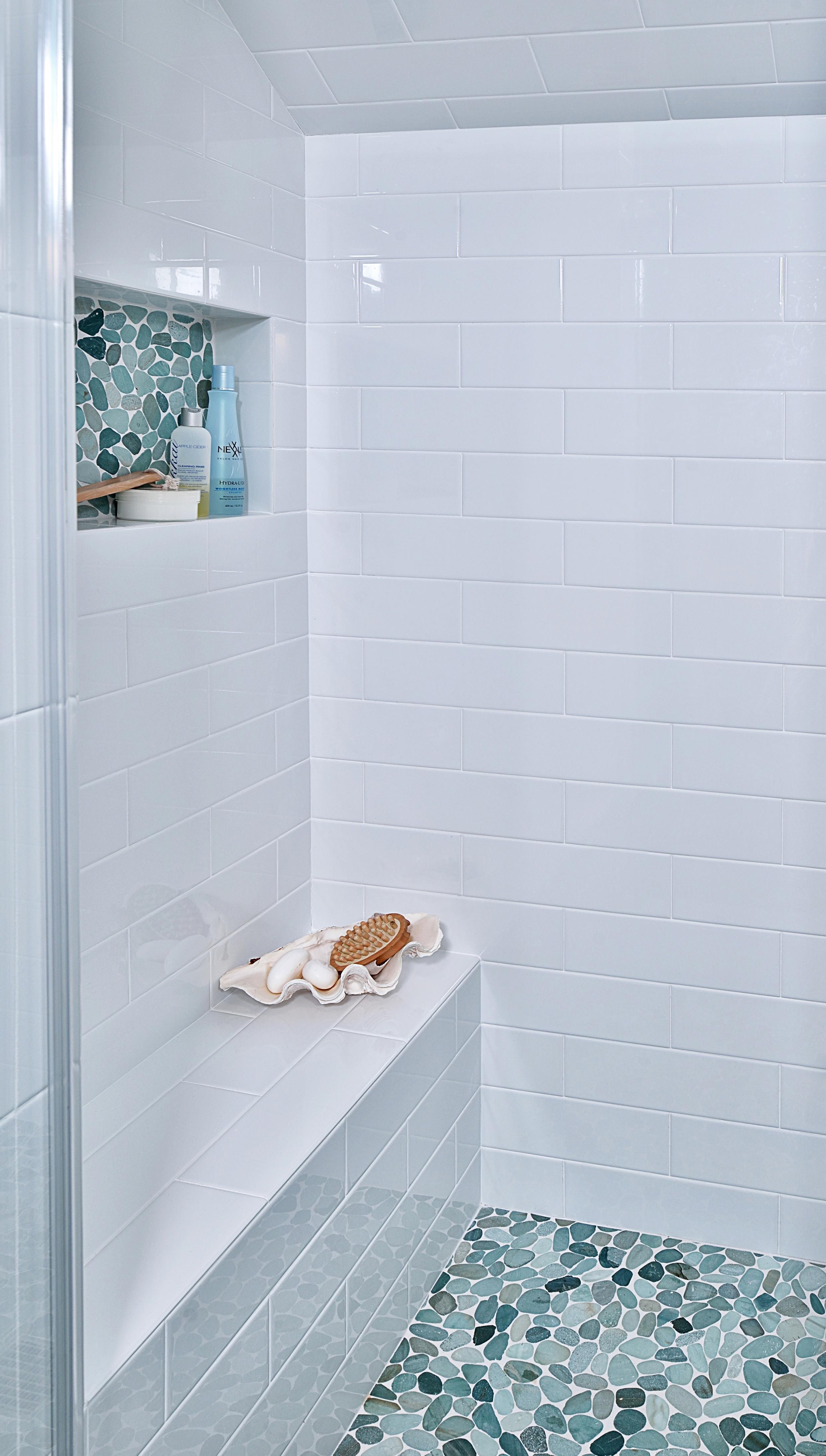 Tiffany blue girl bathroom remodel, pebble tile in shampoo niche and floor, Designer: Carla Aston