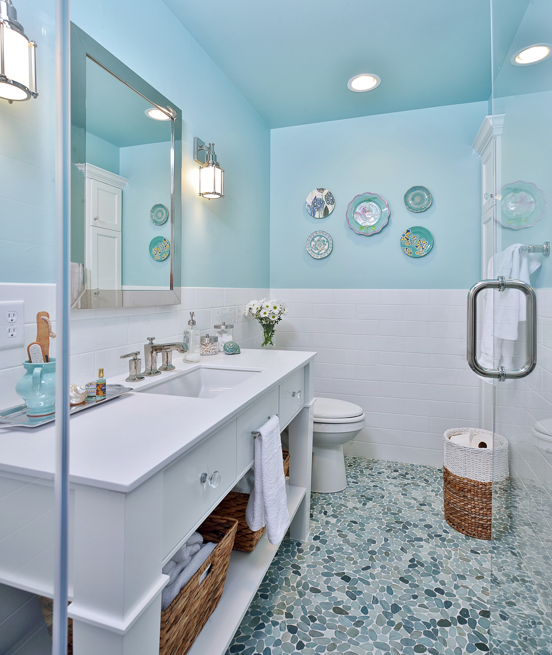 Tiffany blue bathroom remodel with pebble tile floor, Designer: Carla Aston