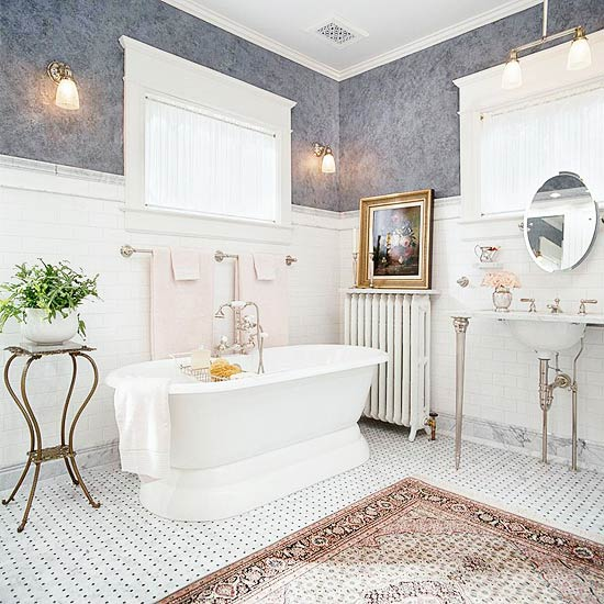 Example of Victorian home bathroom where the mouldings telegraph the style of the house.