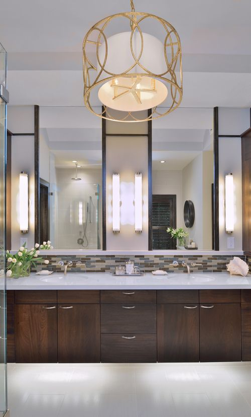 Bath lights mounted vertically on the sides of the mirrors work well in this contemporary bathroom. Carla Aston, Designer #bathlight #vanitylight #wallsconce