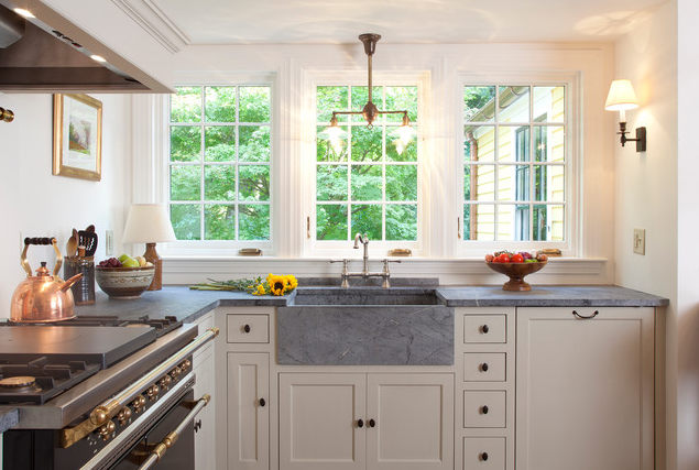 I just love this soapstone kitchen countertops! They have a richness about them, and a unique look that issoappropriate for two of the projects I'm currently working on. | Interior design -er: Frank Shirley Architects