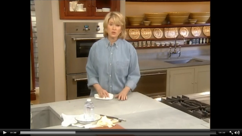 WATCH: Martha Stewart shares her love of soapstone. It's used in her on-stage kitchen. ;-)