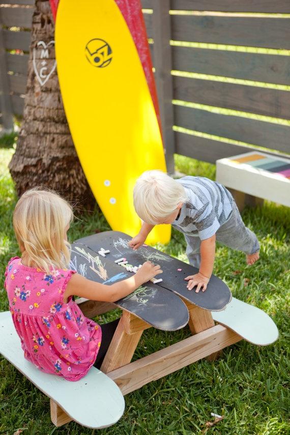 Skateboard picnic table |Image via:  Etsy