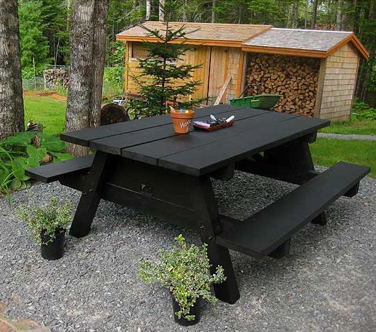 Vintage style picnic tables | Image via:  Thinking With My Heart