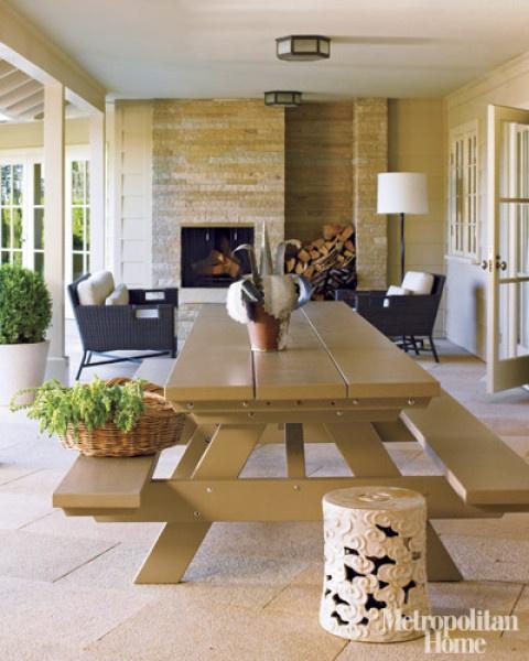Picnic tables | Designer:  Barbara Barry ,  Metropolitan Home