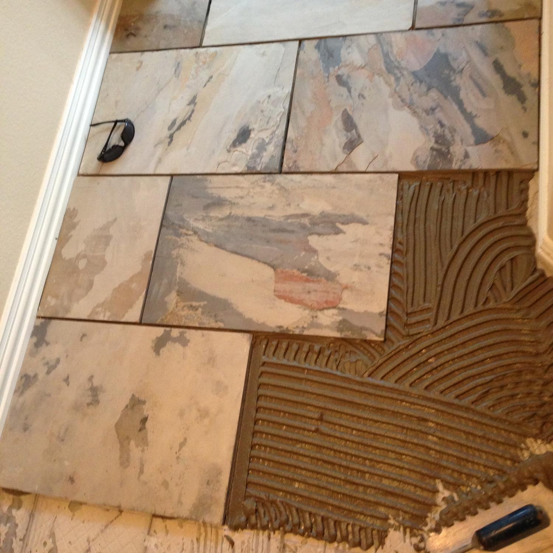 Thorntree Slate and Marble floor; lavender harvest slate