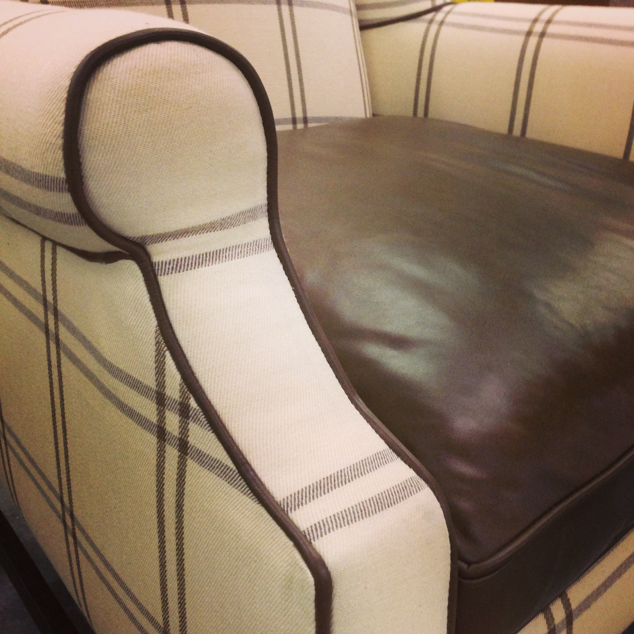 Custom detailing on chair with fabric and leather welting | Carla Aston, Designer #chair