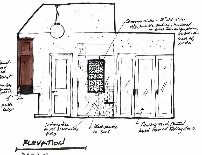 Drawn interior design plan (vintage bathroom remodel) by Carla Aston