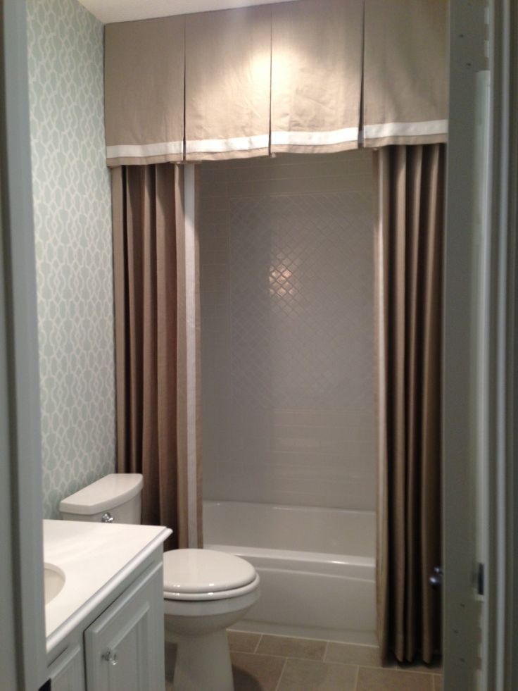 Custom shower curtain in bathroom remodel, Designer: Carla Aston