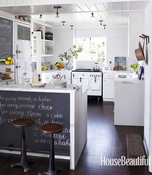 Kitchen; white appliance; stove; oven; range; chalkboard | Interior Design -er: Erin Martin
