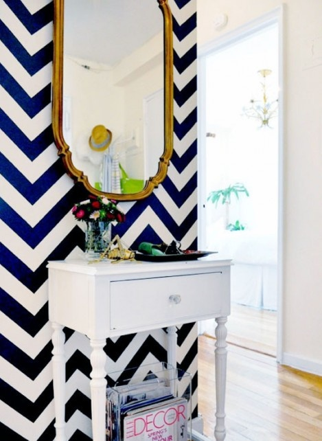 Cobalt blue wallpaper   Image source:   Apartment Therapy