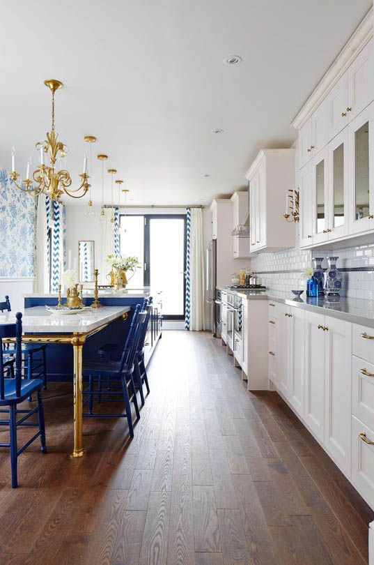 Cobalt blue kitchen island and chairs  Image source:   HGTV  Sarah Richardson, designer