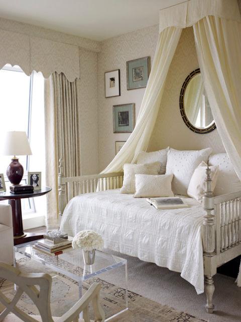 Cream & white bedroom; bed | Interior Designer:  Phoebe Howard