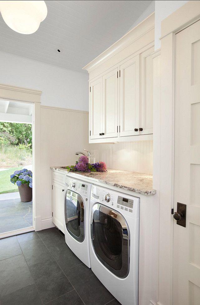 laundry room color; cream & white| Designer:  Jodi Foster