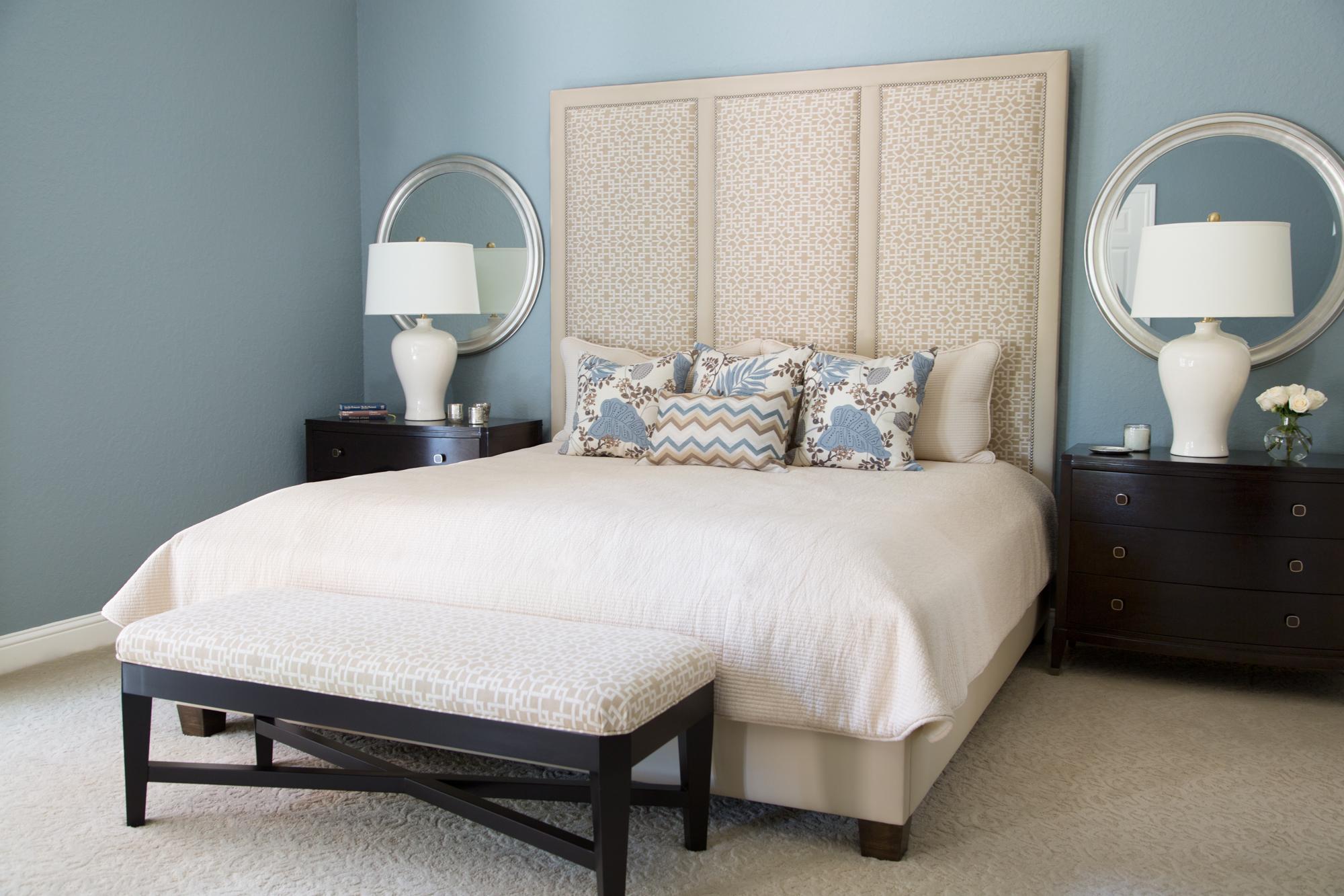 Bedroom; custom bedding; lamp; decorative pillow; headboard; mirror; etc. | Interior Designer: Carla Aston