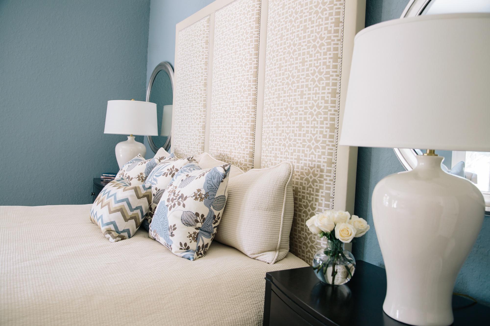 Master Bedroom Redo - Custom bed, pillows, bedding, Designer: Carla Aston