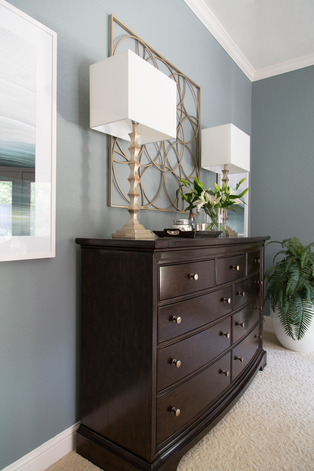 Master Bedroom Redo - dresser, artwork, lamps, Designer: Carla Aston