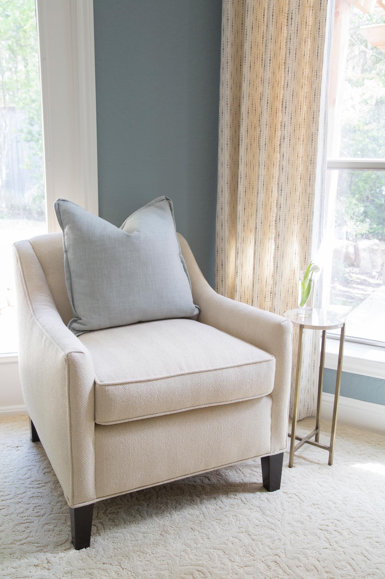 Master Bedroom Redo - Seating, side table, drapery, Designer: Carla Aston