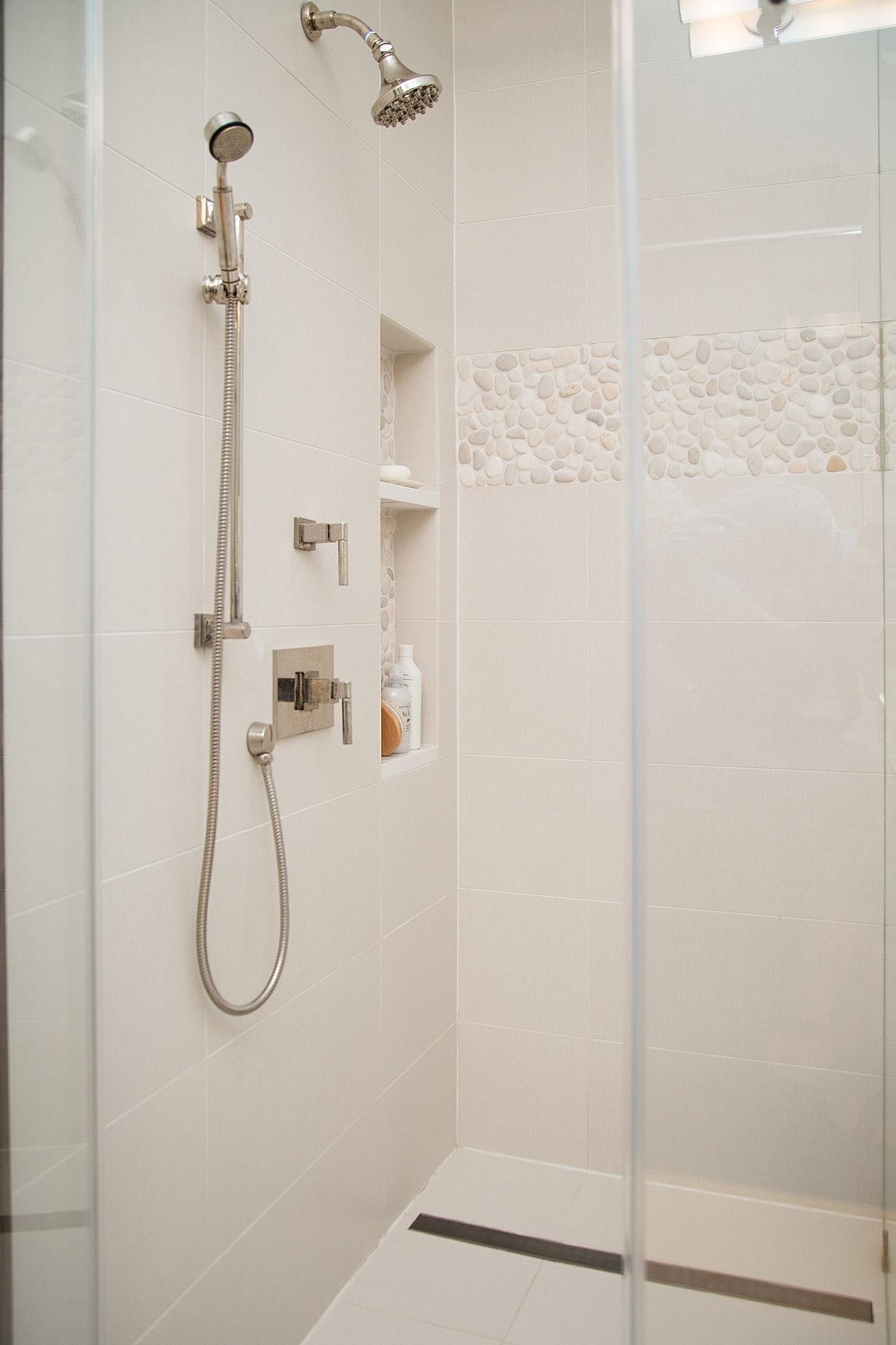Master bathroom remodel w curbless entry and linear drain | Interior Designer: Carla Aston / Photographer: Tori Aston #bathroomideas #bathroomremodel #zeroentryshower #curblessshower #lineardrain