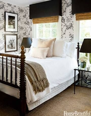 white bedding; bedroom; lamp | Interior Designer: Tobi Tobin / Image Source: House Beautiful