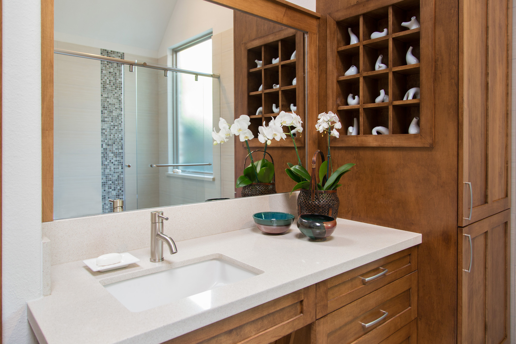 Bathroom remodel featuring: universal design,accessible bathroom,curbless shower, linear drain, accessibility, and much more! | Interior Designer: Carla Aston / Photographer: Tori Aston