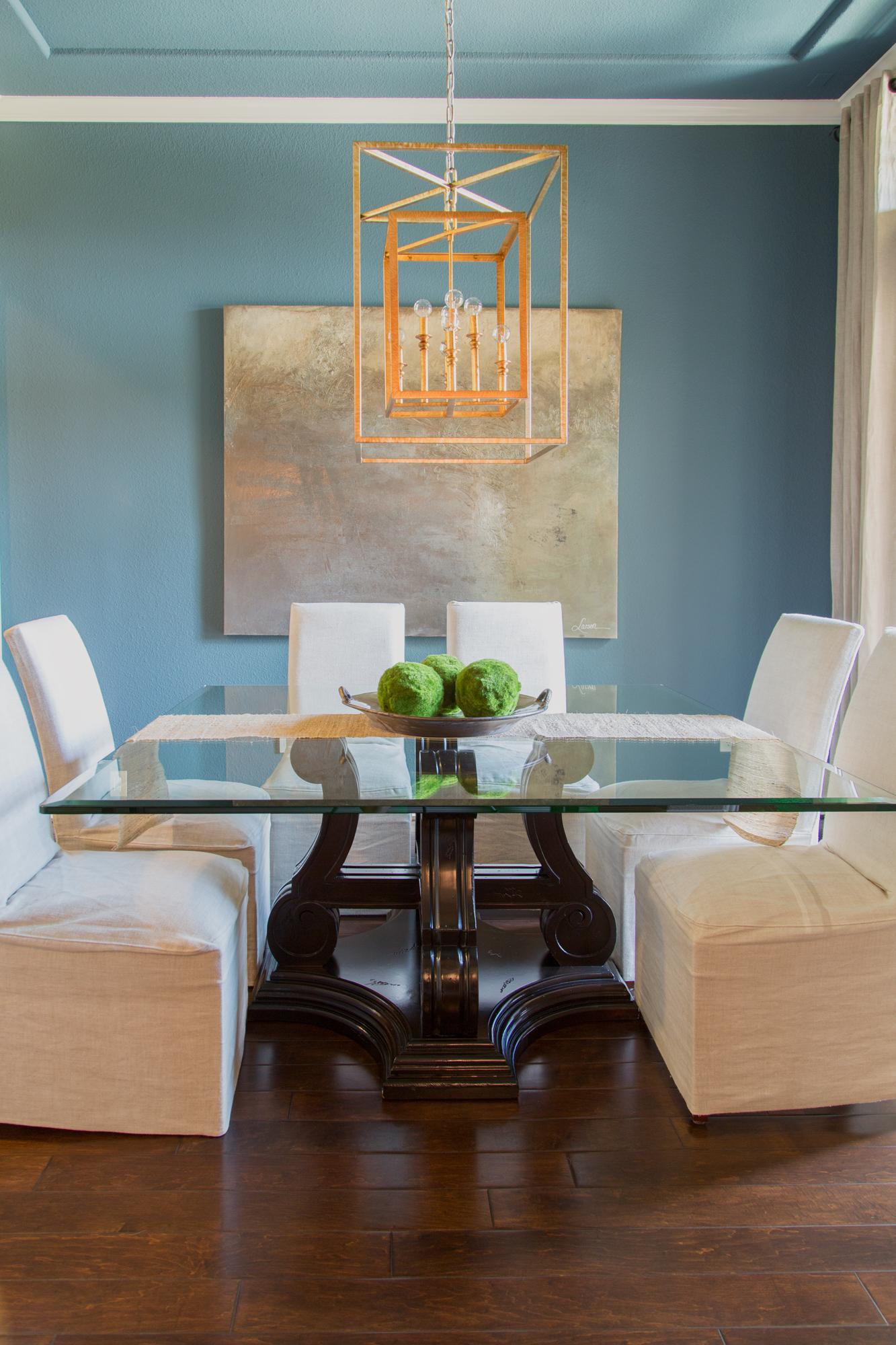 Dining room remodel; table; art; gilded lantern; decor | Interior Designer: Carla Aston / Photographer: Tori Aston