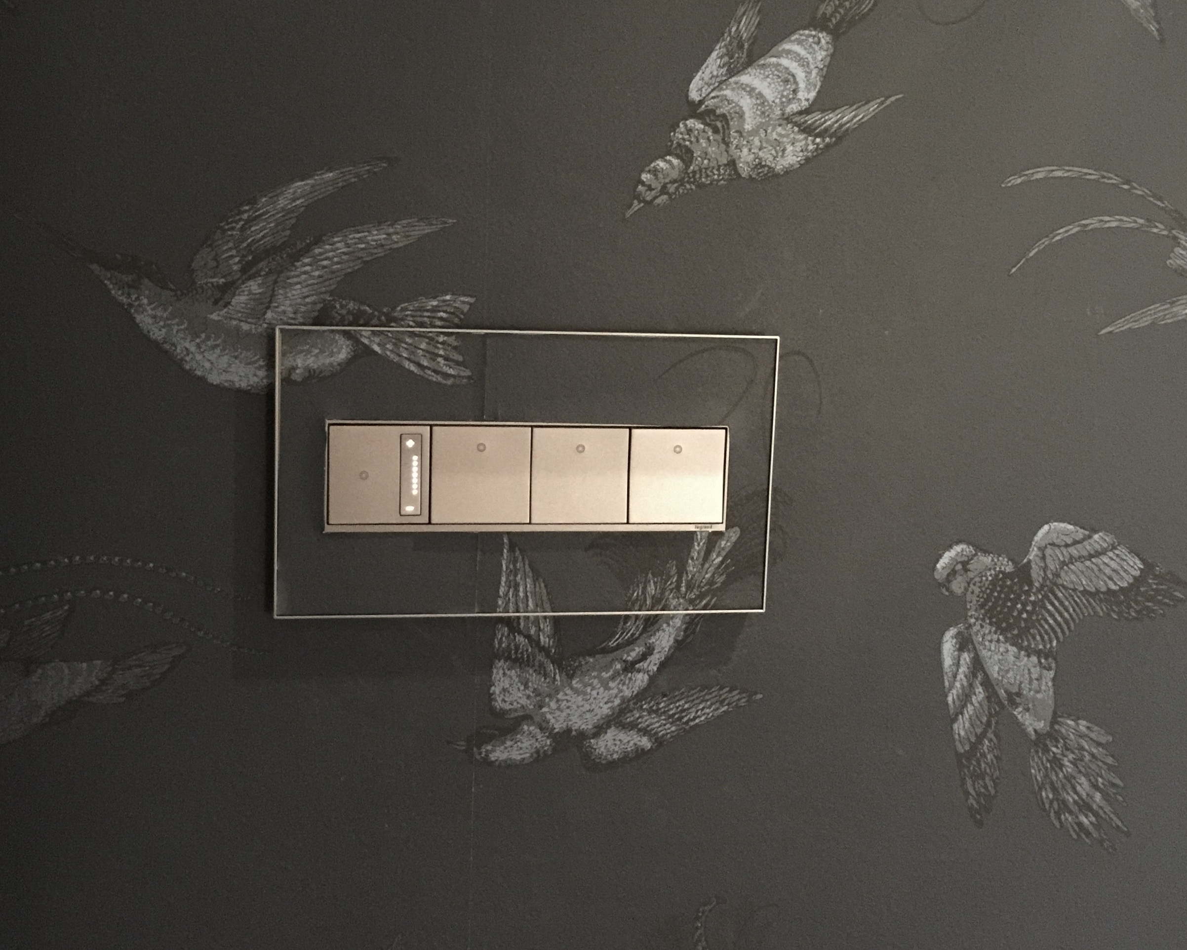 Legrand Adorne switches on wallpaper