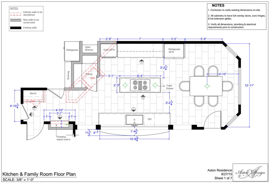 Kitchen Floor Plan | Interior Designer: Carla Aston