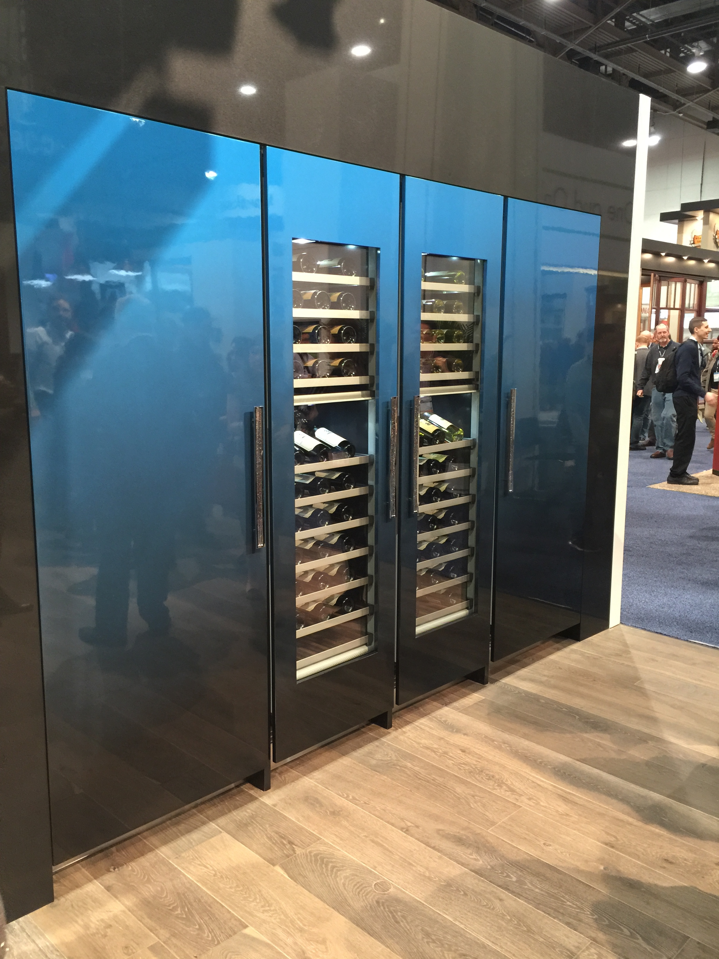 Wall of refrigeration from    Thermador    in an auto paint finish | KBIS2016