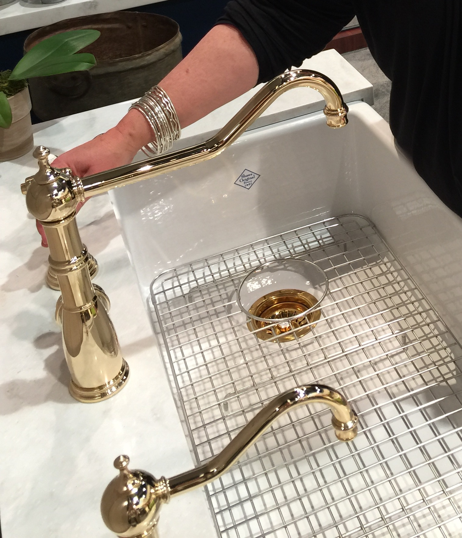 Lots of beautiful, brassy finishes. This one from    Rohl   . | KBIS2016