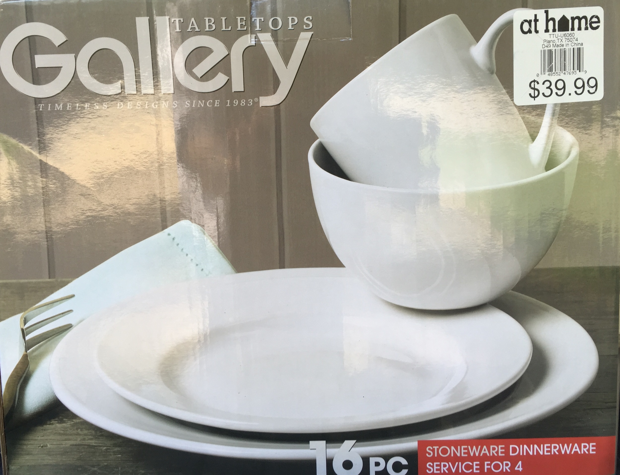 16-piece stoneware dinnerware service for four available at AtHome.com