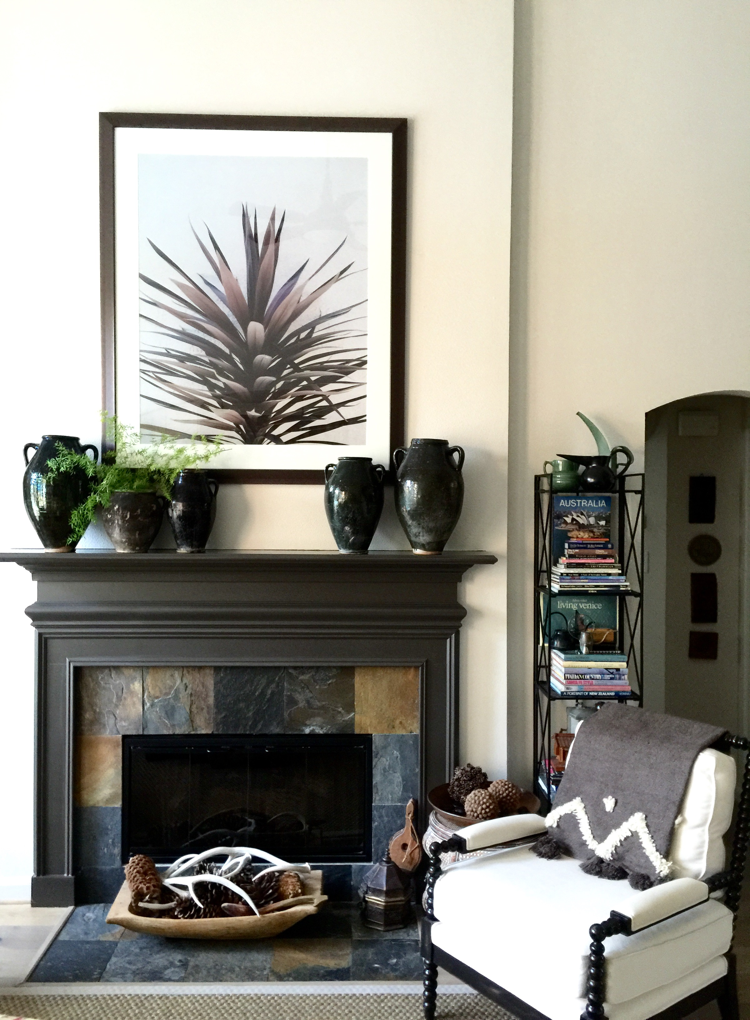 Overall Fireplace - Photography as art over fireplace, Tori Aston, Photographer.