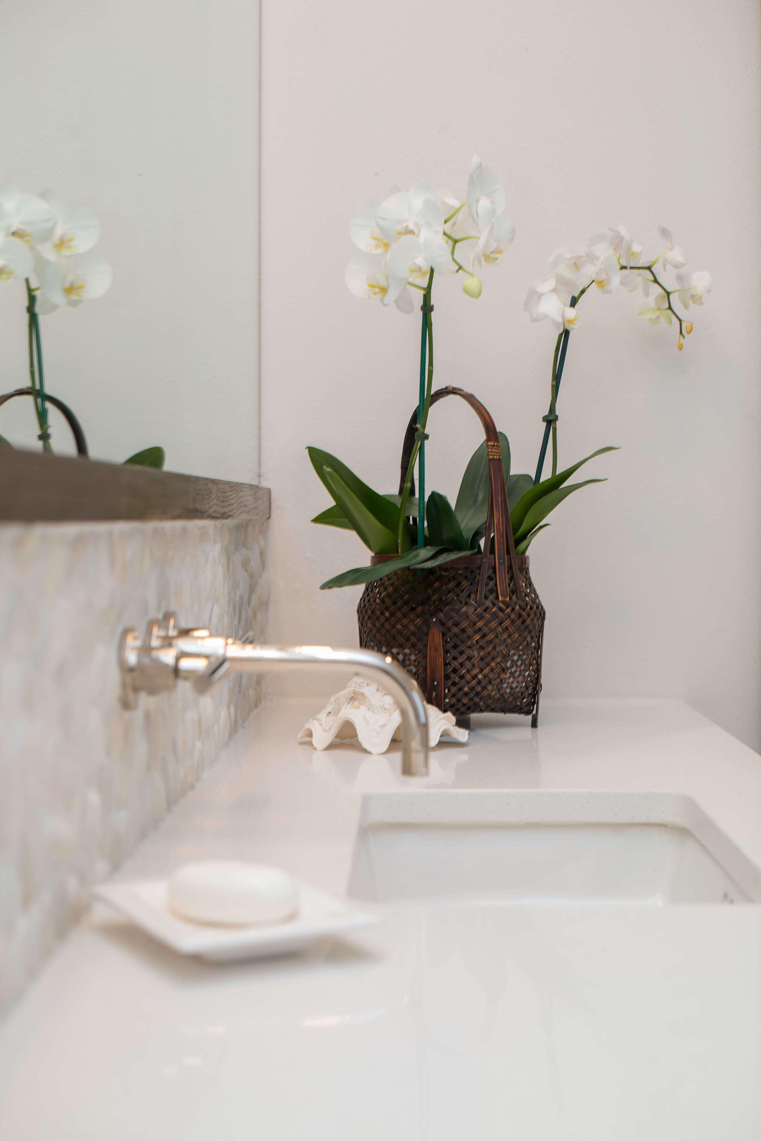 Master Bath Remodel - wall mount faucets, pebble tile backsplash