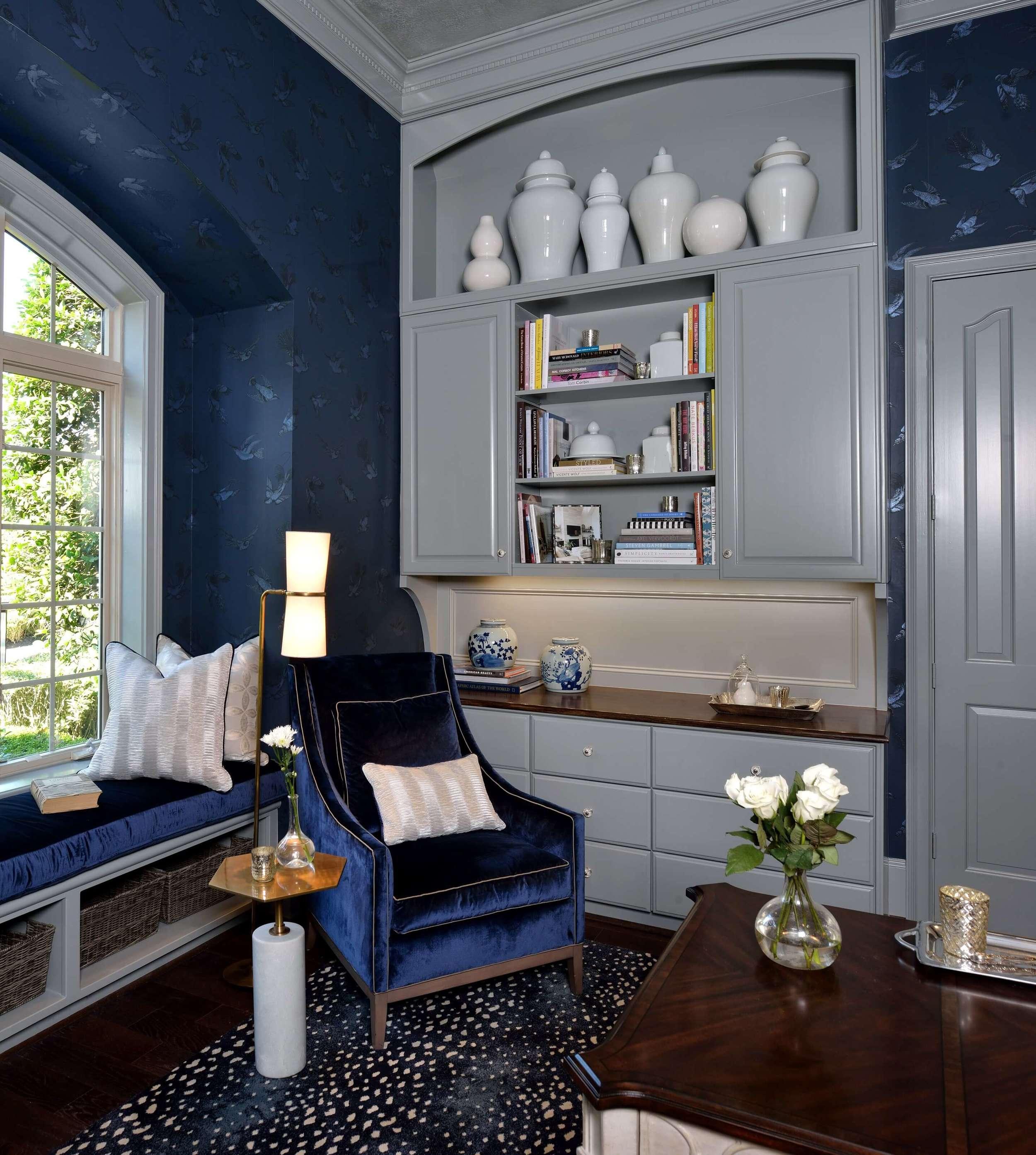 Feminine Home Office - Navy and gray color scheme, Carla Aston, Designer