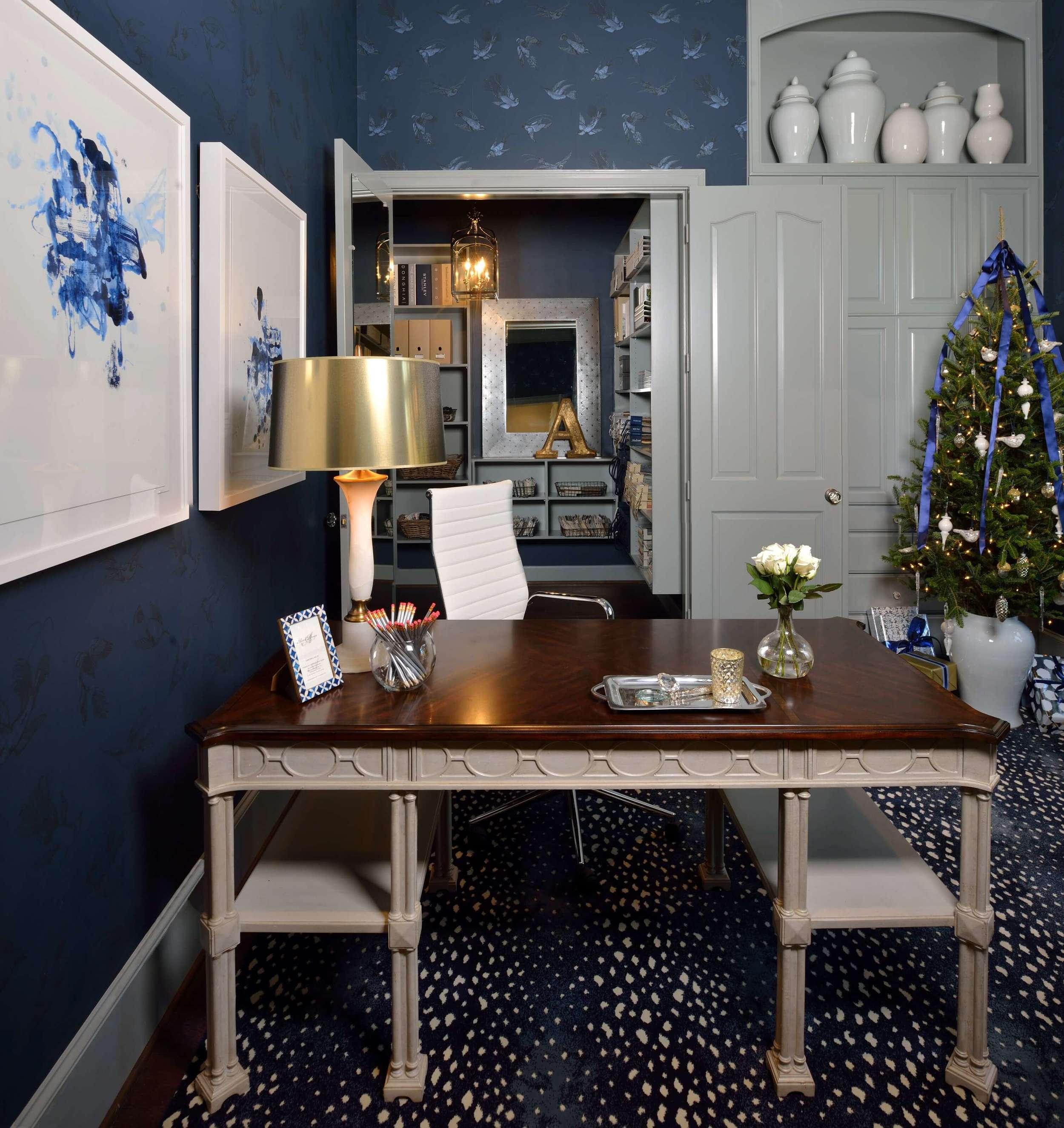 Feminine Home Office - Navy and gray color scheme, Christmas decor, Designer: Carla Aston